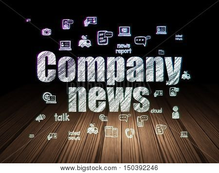 News concept: Glowing text Company News,  Hand Drawn News Icons in grunge dark room with Wooden Floor, black background