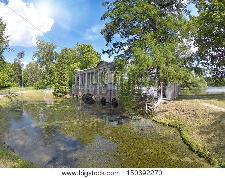 Marble (Palladian) Bridge or Siberian Marble gallery. Catherine Park. Pushkin. Petersburg