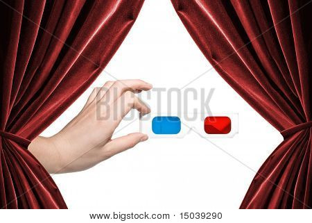 hand holding stereo glasses on white background with curtains