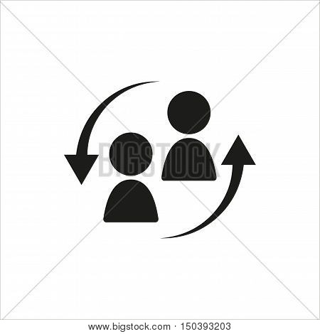 Staff turnover icon in simple black design Created For Mobile Web Decor Print Products Applications. Black icon isolated. Vector illustration.