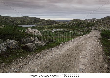 Country road among green hills and lakes on a cloudy day. Track. Arctic summer the tundra Norway.