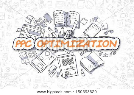 Cartoon Illustration of PPC Optimization, Surrounded by Stationery. Business Concept for Web Banners, Printed Materials.