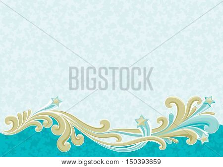 Christmas background . Vector of retro blue and gold ornate elements on abstract background with many stars
