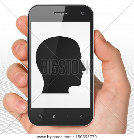 Advertising concept: Hand Holding Smartphone with black Head icon on display, 3D rendering