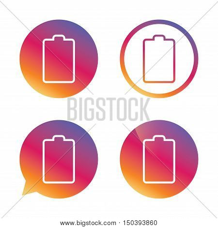 Battery empty sign icon. Low electricity symbol. Gradient buttons with flat icon. Speech bubble sign. Vector