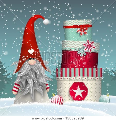 Traditional scandinavian gnome named Tomte standing in front of winter forrest in snow, with stack of colorful gift boxes, vector illustration, eps 10 with transparency