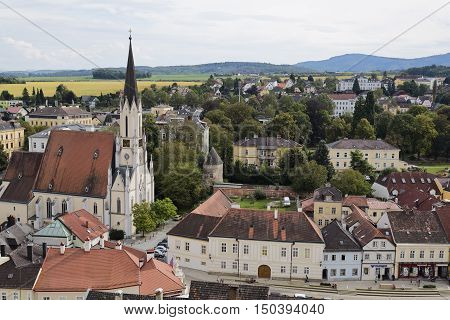 MELK, AUSTRIA - September 4, 2016: Melk is a town on the River Danube west of Vienna Austria known for the 11th-century Melk Abbey a vast monastery built high above the town.