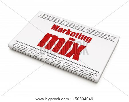 Advertising concept: newspaper headline Marketing Mix on White background, 3D rendering
