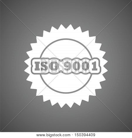 ISO 9001 certified sign icon on gray background