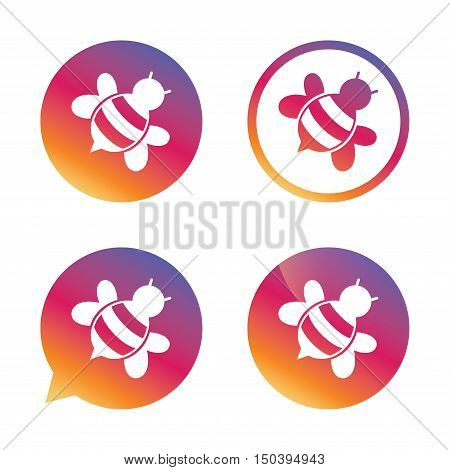 Bee sign icon. Honeybee or apis with wings symbol. Flying insect diagonal. Gradient buttons with flat icon. Speech bubble sign. Vector