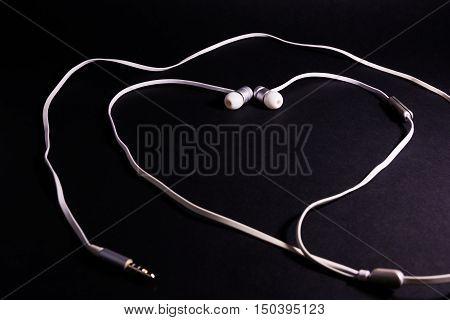 Headphones Earphones White Heart Shape Symbol Metaphor Love Music Black Background Accessory Wire