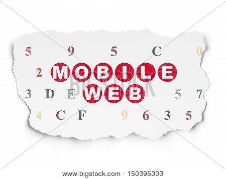 Web development concept: Painted red text Mobile Web on Torn Paper background with  Hexadecimal Code