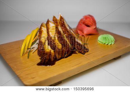 sashimi sushi acne slices on white background