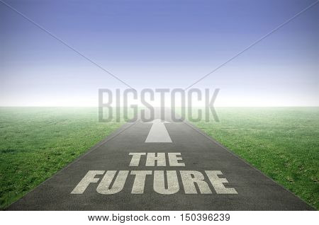 The future painted on an open road leading out to the horizon