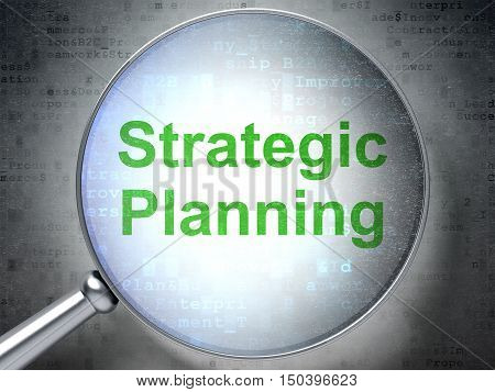 Business concept: magnifying optical glass with words Strategic Planning on digital background, 3D rendering