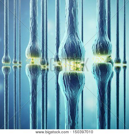 Synaptic transmission, human nervous system, 3d rendering
