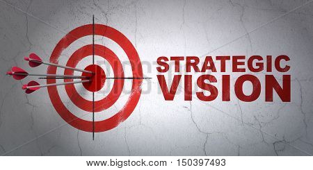 Success finance concept: arrows hitting the center of target, Red Strategic Vision on wall background, 3D rendering