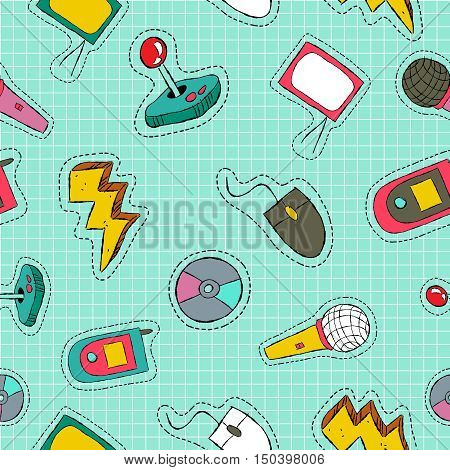 Retro Technology Patch Icon Seamless Pattern