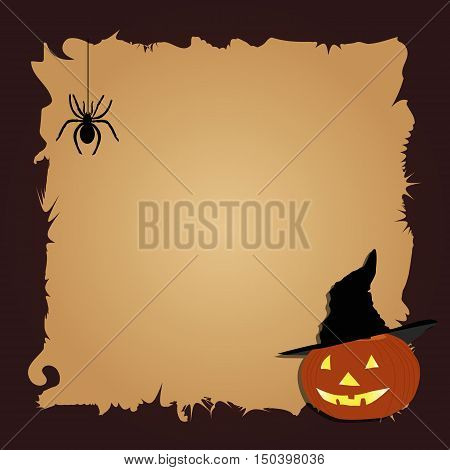 Halloween border for design with a black spider and pumpkin in witch hat