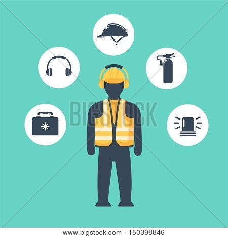 safety equipment design vector concept with safety icons.