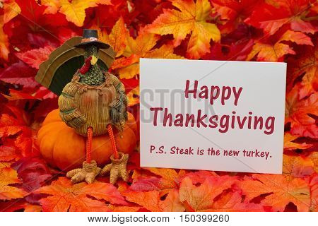 Funny Happy Thanksgiving Greeting Some fall leaves and a turkey sitting on a pumpkin and a gift tag with a blank gift tag with text Happy Thanksgiving PS Steak is the new turkey