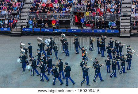 EDINBURGH, SCOTLAND--AUGUST 13, 2016--The United State Military Band performing at the Edinburgh, Scotland Military Tattoo.