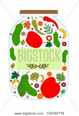 Vegetables for pickling in a glass jar to write a prescription