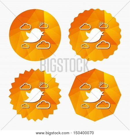 Bird icon. Social media sign. Short messages symbol. Clouds with sun. Triangular low poly buttons with flat icon. Vector