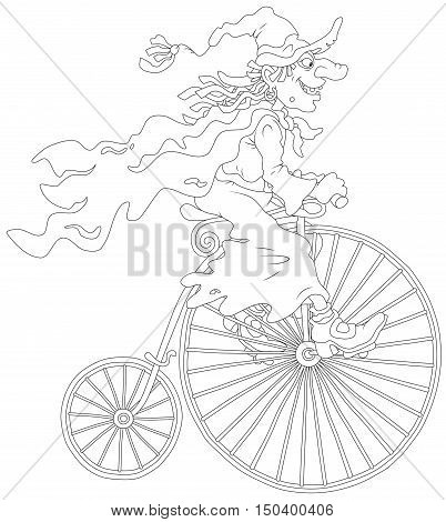 Black and white vector illustration of a Halloween witch  riding an antique bicycle