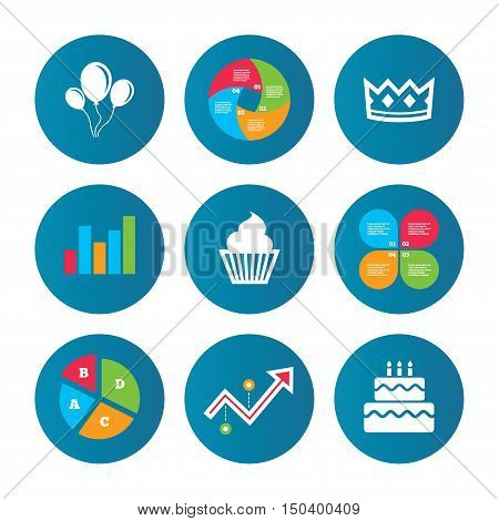 Business pie chart. Growth curve. Presentation buttons. Birthday crown party icons. Cake and cupcake signs. Air balloons with rope symbol. Data analysis. Vector