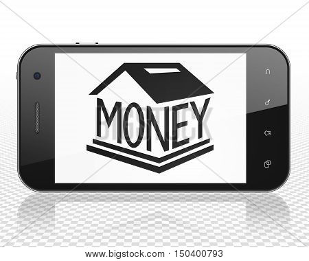 Money concept: Smartphone with black Money Box icon on display, 3D rendering