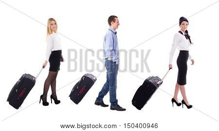 Travel Concept - Side View Of Walking Stewardess And Tourists With Suitcases Isolated On White