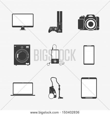 tv game console camera washing machine mp3 player cellphone laptop vacuum cleaner home electronic appliances image vector illustration