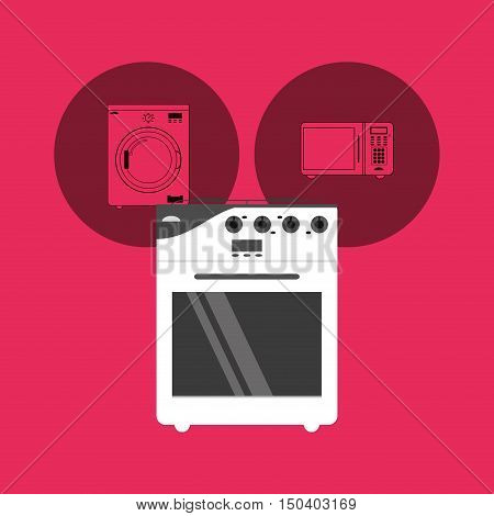 oven stove with washing machine and microwave home electronic appliances image vector illustration
