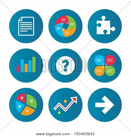 Business pie chart. Growth curve. Presentation buttons. Question mark and puzzle piece icons. Document file and next arrow sign symbols. Data analysis. Vector