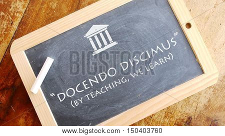 Docendo discimus. A Latin phrase meaning By teaching, we learn. Johnson State College motto