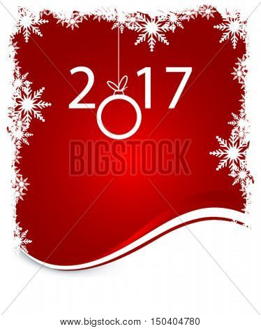 New 2017 year on winter red background