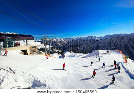 Ski slopes and ski chairlifts on the top of Fellhorn Ski resort Bavarian Alps Oberstdorf Germany