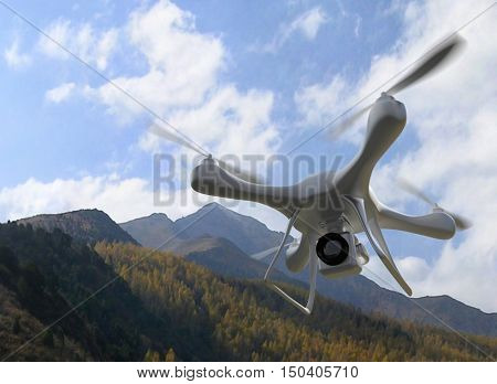 3d render quadrocopters mountains in the background. radio-controlled drone is filming nature. Unmanned flying toys
