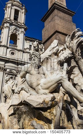 Detail Of Fontana Dei Quattro Fiumi On Piazza Navona In Rome