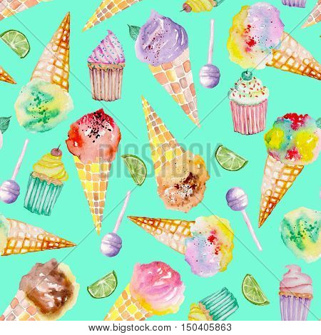 Seamless pattern with bright, tasty and appetizing ice cream and confection painted in watercolor on a turquoise background