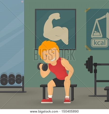 Training in GYM, sportman, training, workout, personal trainer vector illustration