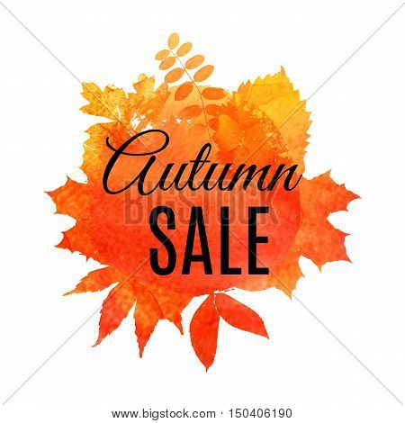 Autumn Leaf Foliage Watercolor .autumn Sale. Fall Sale. Web Banner Or Poster For E-commerce, On-line