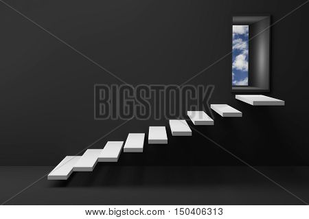 3D Rendering : illustration of wooden stair or steps up to the light sky shining door against black wall and floor,Opened door to blue sky and stair in black room with shadow,business success concept,rise,growth,hope or future