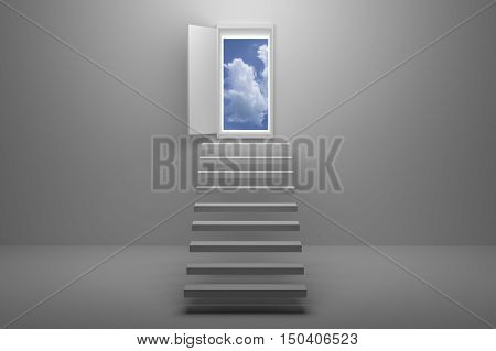 3D Rendering : illustration of stair or steps up to the sky in a door against white wall and floor,Opened door to blue sky and stair in white room with shadow,business success concept,rise ,growth,hope or future