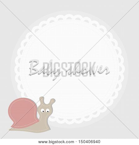 children's round frame with a snail. Template for greetings or album or scrapbooking. Baby vector illustration.