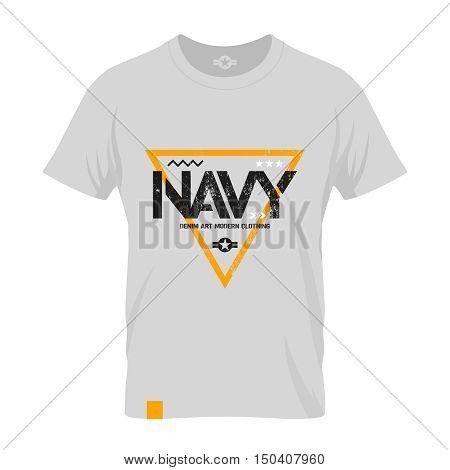 Modern american navy grunge effect tee print vector design illustration.  Premium quality superior military shabby logo concept. Threadbare warlike label light t-shirt mock up.