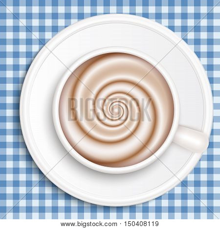 Top view of white coffee cup on blue gingham patterned cloth. Cappuccino full cup hot chocolate coffee and cream high milk foam. Coffee cup top view vector illustration.