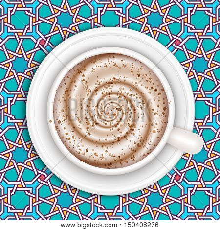 Top view of white coffee cup on moroccan patterned table. Brown shugar on foam. Cappuccino full cup hot chocolate coffee and cream high milk foam. Coffee cup top view vector illustration.