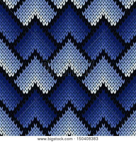Abstract Ornate Knitting Seamless Pattern In Blue Hues